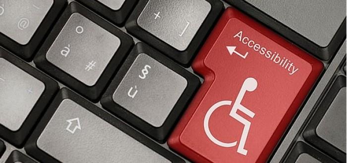 imagem de um teclado com o símbolo dos deficientes visuais na tecla enter e com acessibilidade escrita sobre ele
