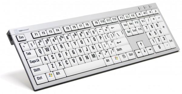imagem do teclado branco com letras grandes pretas para pessoas com baixa visão