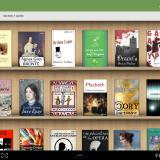 Imagem da biblioteca do aplicativo Aldiko, uma estante de madeira cheia de livros com as capas viradas para frente