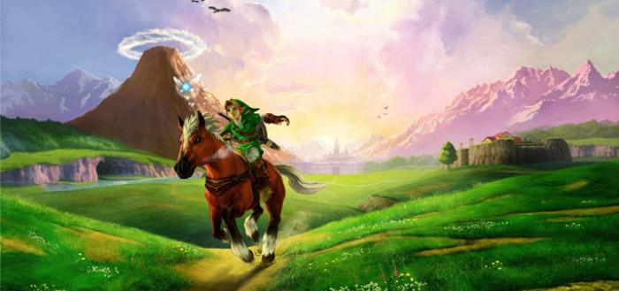 Imagem representativa do jogo The legend od zelda ocarina of time com o link, herói do jogo, uma criança loura de roupa e gorro verdes montada em um cavalo