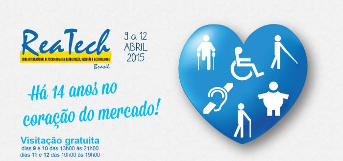 logotipo da reatech, um coração azul com os simbolos dos amputados, surdos, idosos, obesos, deficientes visuais e cadeirantes