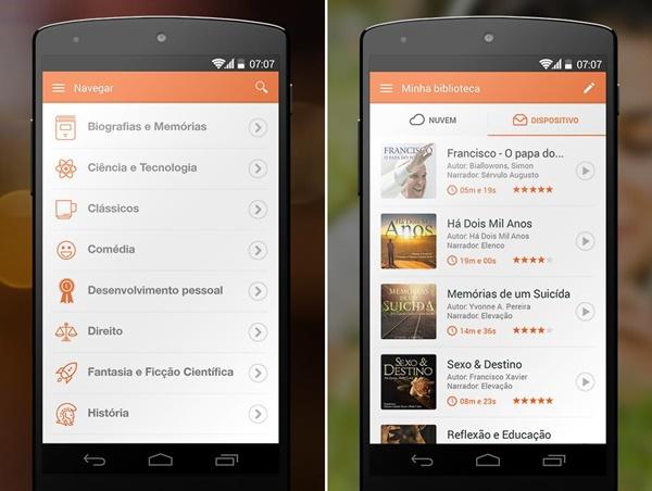 imagem com duas telas de smartphone mostrando os menús do tocalivros
