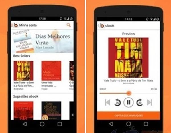 imagem da tale de um smartphone com o ubook funcionando