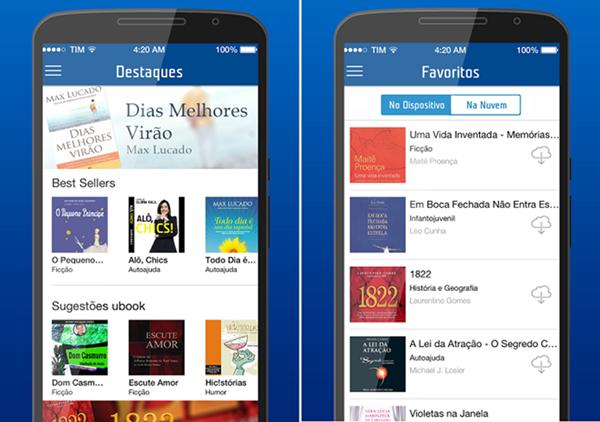 imagem da tela de um smartphone com os menús tim audiobook na tela