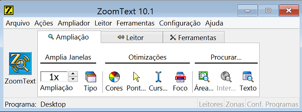 Apinel de controle das configurações do ZoomText