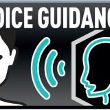 imagem representando o voice guidence, a direita uma tela de tv com a silheuta de um homem, na parte central três riscos curvos representando o som saindo da tv e a esquerda o desenho de uma mulher de olhos fechados e sorrindo
