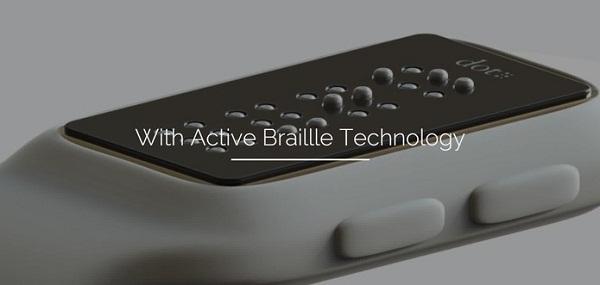 imagem demonstrativa do dot lateralmente demonstrando como funciona o sistema de relevo, aparentemente ele já conta com quatro células com os seis pontinhos característicos do braille, a medida que uma palavra ou número é identificado sobem os pininhos nas posições para formar os caractéres em braille