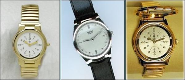 imagem mostrando três modelos de relógios em braille femininos e masculinos