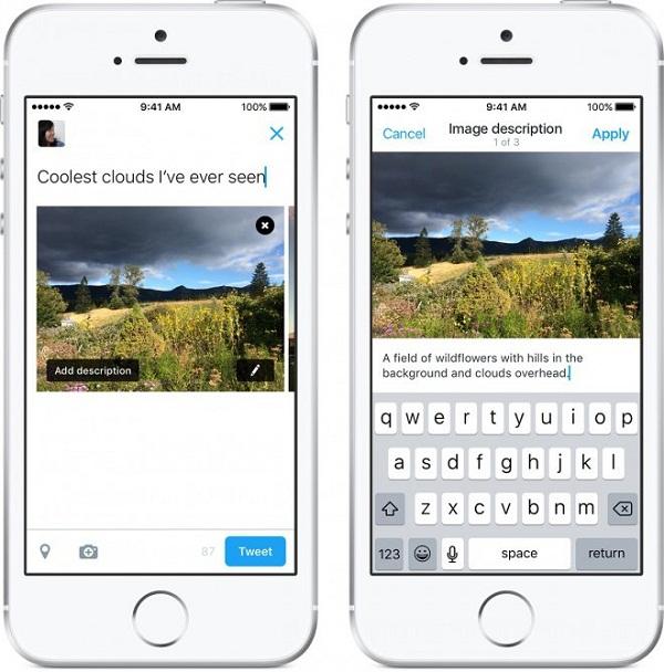 imagem mostrando duas telas de celular demostrando a função, à esquerda, a tela de edição, com a edição da descrição, área do tweet e botão da edição da foto, à direita a imagem já publicada com sua respectiva descrição embaixo